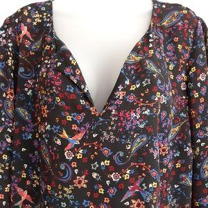 DR2 bird & flower print blouse